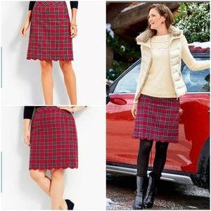 Talbots Red Preppy Plaid Scallop Hem A line skirt
